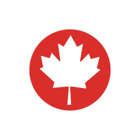 Canada flag circle shape on white background vector icon Illustration.