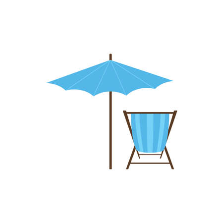 Beach umbrella and lounger icon flat style on white background. Vector illustration vocation