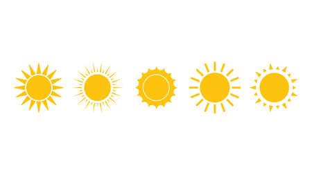 Sun icon set. Yellow sun collection. Summer, sunlight,. Vector illustration isolated on white background. Çizim