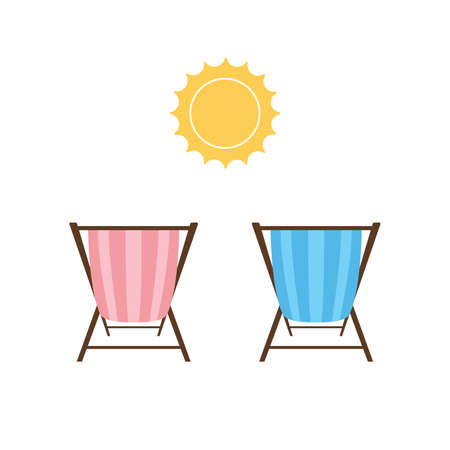 Beach lounger and sun icon flat style on white background. Vector illustration vocation holiday sunrise or sunset