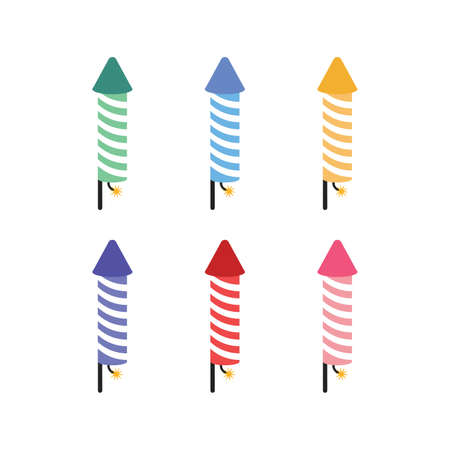 Icon of pyrotechnic equipment in the form of a rocket. fireworks icon set colored on white background Çizim