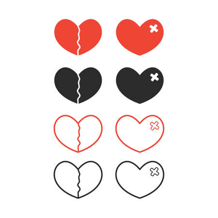 broken heart set, crack fixed with bandage. Breakup symbol. Simple flat vector style and line style.