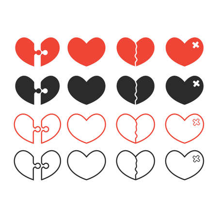 health and broken heart set, crack fixed with bandage. Breakup symbol. Simple flat vector style and line style.