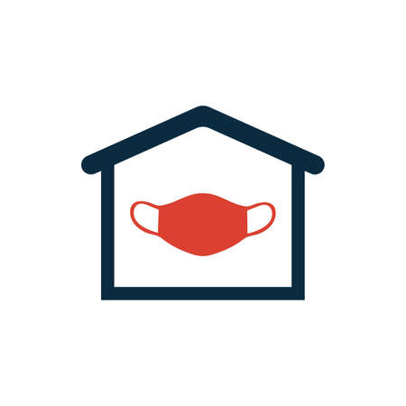 Vector Illustration Of Home Icon with medical mask. Beautiful Web House Element. stay at home virus. 版權商用圖片 - 167368640
