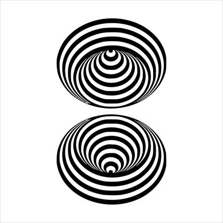 optical illusion black and white circles cone on white background Vector illustration Çizim