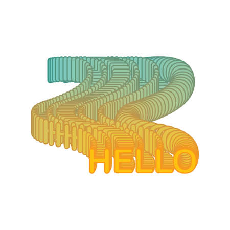 lettering text Hello. isolated on white background. vector Illustration fluid style.