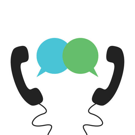 Phone icon vector with message bubble. Telephone icon symbol isolated. Call icon. Vector illustration