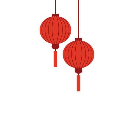 Chinese holiday lanterns illustration vector design on white background