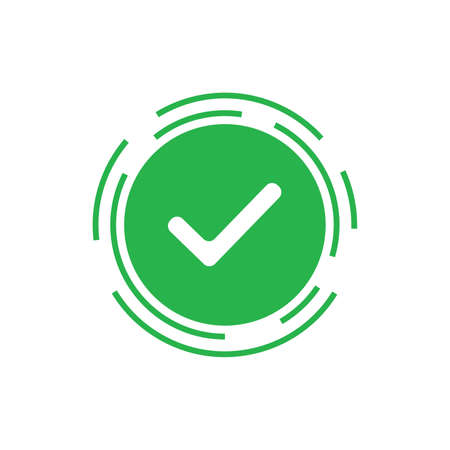 Green check mark icon vector design on white background trendy style Vector illustration