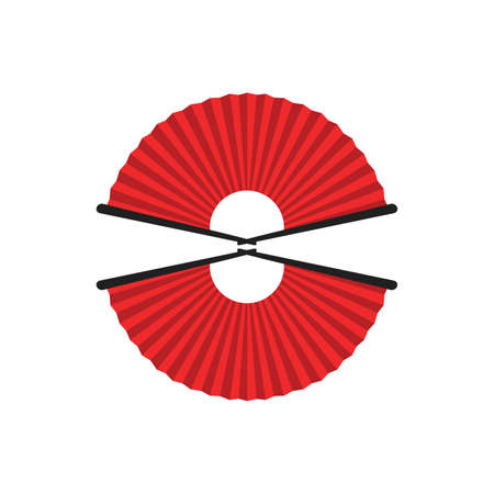 Chinese and japanese hand fan in cartoon style. Colored hand traditional fan isolated on white background. Vector illustration. 向量圖像