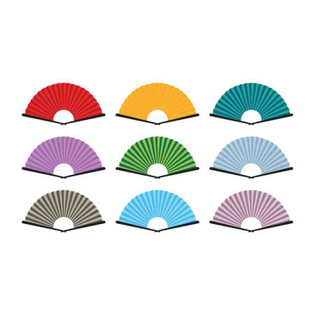 Chinese and japanese hand fan set in cartoon style. Colored hand traditional fan isolated on white background. Vector illustration.