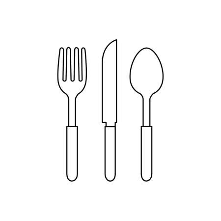 spoon and fork Icon Vector Illustration   Template on white background.