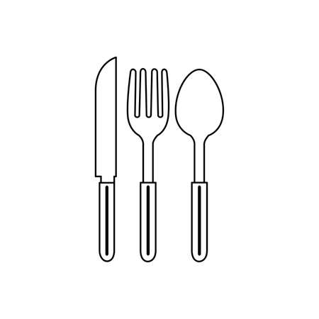 spoon and fork Icon Vector Illustration  Template on white background. 向量圖像