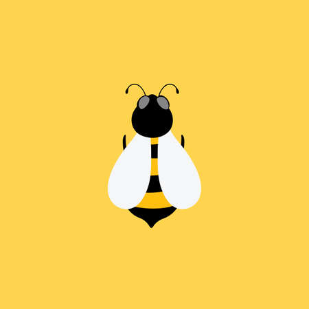 Vector cartoon illustration of a bee flying. Bee icon honey icon on yellow background.