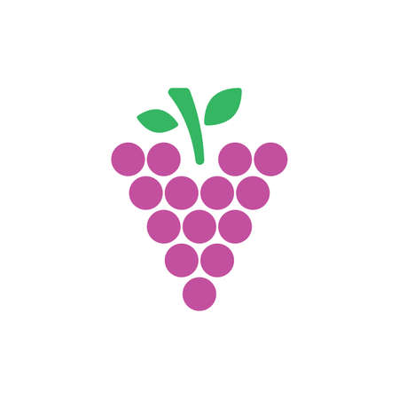 Grape illustration in flat style. Icons for design and web. Vector illustration on white background 向量圖像