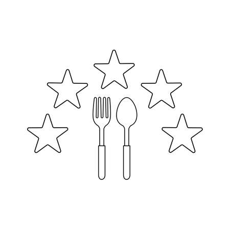 spoon and fork Icon with five stars Vector Illustration  Template on white background.