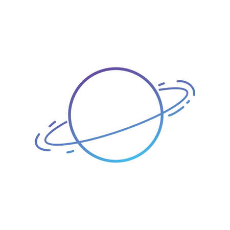 Space, planet, technology  icon line gradient art vector illustration on white background