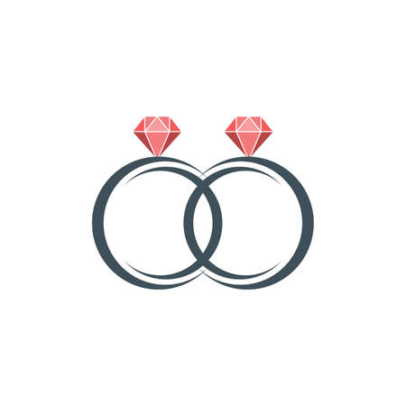 Diamond ring vector icon set, wedding rings icons, on white background. Vector illustration 向量圖像