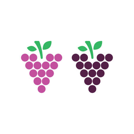 Grape illustration set in flat style. Icons for design and web. Vector illustration on white background 版權商用圖片 - 168396581