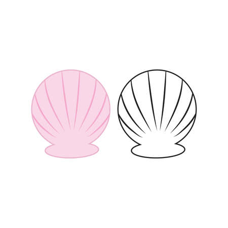 Scallop shell  . Isolated scallop on white background line effect. Vector illustration