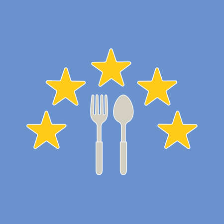 spoon and fork Icon with five stars Vector Illustration   Template on blue background.