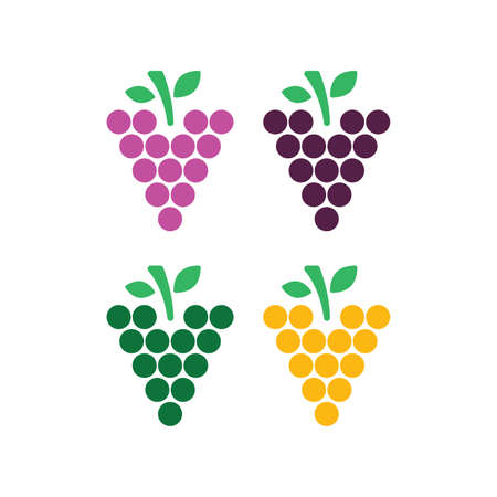 Grape illustration set in flat style. Icons for design and web. Vector illustration on white background