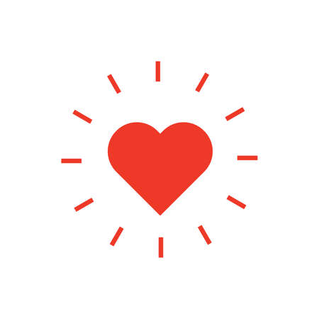 Icon of heart. Shining heart. Valentines Day. Vector illustration