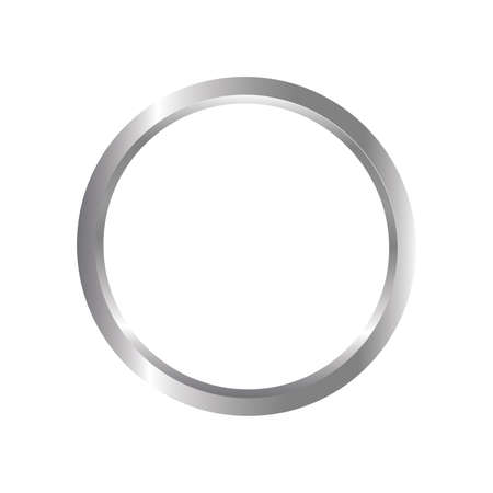 Metal ring isolated on white background - 3d illustration. Vector illustration