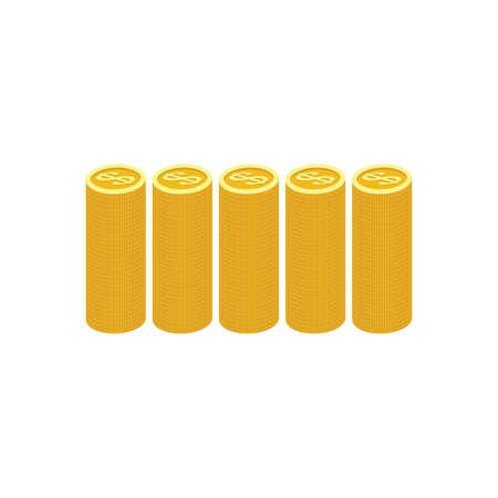Gold Coins Graph on white background illustration. Vector illustration
