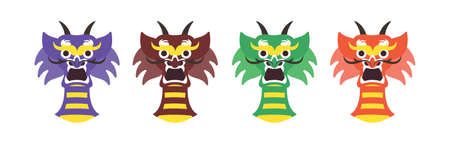 dragon cartoon face. Set of cartoon vector monsters. Halloween design 向量圖像