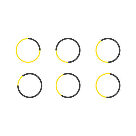 circle isolated on white background. Collection of different yellow circles. Vector illustration