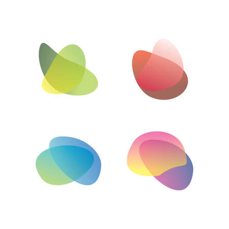 Abstract liquid shape. Set of modern graphic elements. Fluid dynamical colored forms. Gradient abstract shapes. Vector illustration.