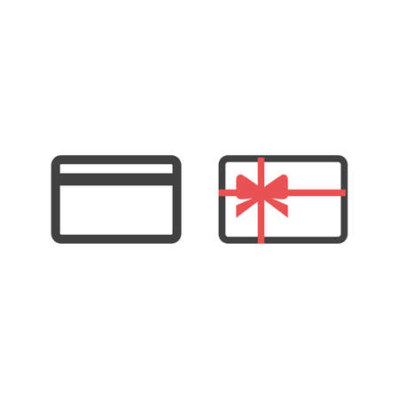 Gift card icon with red ribbon vector design black symbol isolated on white background. Vector illustration