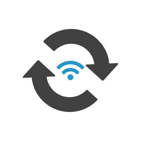 Communication WIFI signal and rotation arrows. Vector icon isolated on white background. Find signal