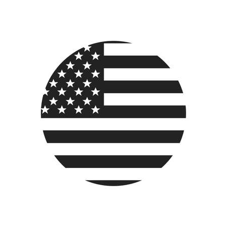 Made in USA or label. Circle US icon with American flag. Vector illustration.