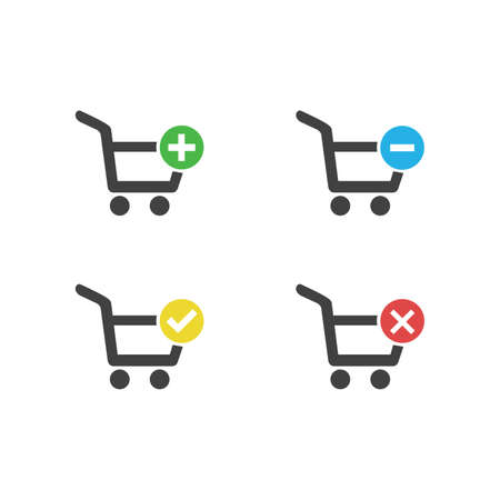 Black set of shopping Carts icon with add, remove, cancel, delete, flat graphic vector isolated on white background. Vector illustration