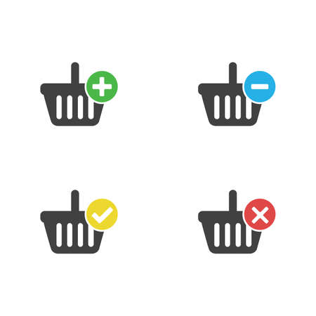 Black set of shopping Carts icon with add, remove, cancel, delete, flat graphic vector isolated on white background
