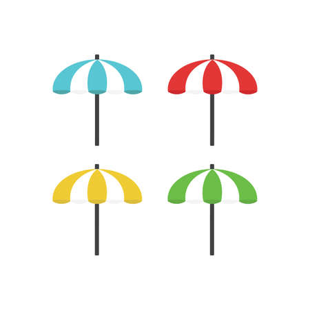Colorful beach umbrellas set isolated on white background.