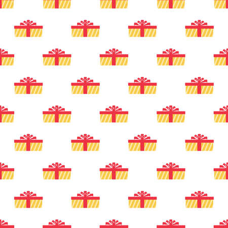 Seamless Pattern Gift party red pox and white background, happy day