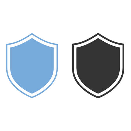 Shield Icon for Graphic Design Projects black and blue color on white background. Vector illustration 向量圖像