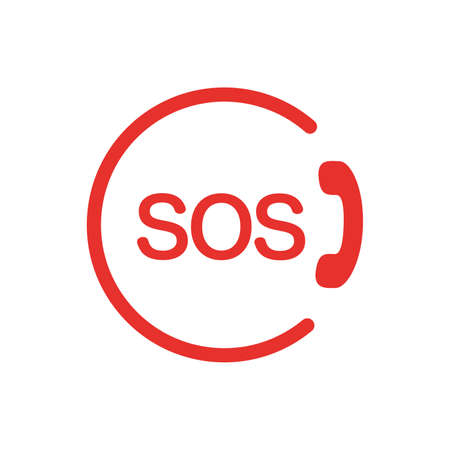 Vector call icon with SOS signal on white background. Vector illustration