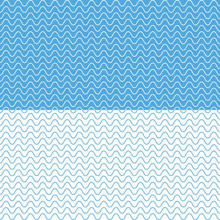 Waves vector background. Marine, sea, ocean seamless in horizontal direction. Wavy lines vector illumination. 向量圖像