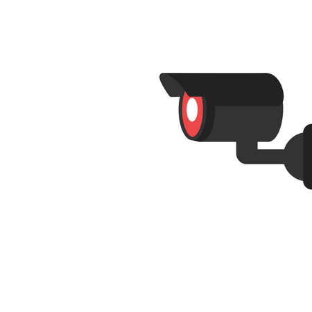 Security camera icon. Black and white silhouette of a surveillance camera. Vector illustration on a white background
