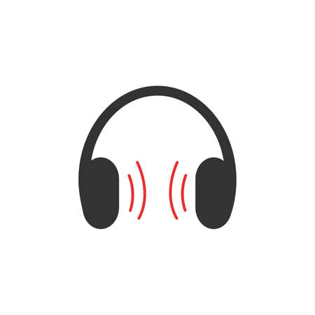 headphones icon, stock vector illustration flat design style. Vector illustration on white background 向量圖像