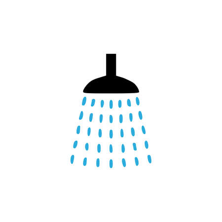 Shower icon with water drop. Vector style is flat iconic symbol, black color, white background. Vector illustration 向量圖像