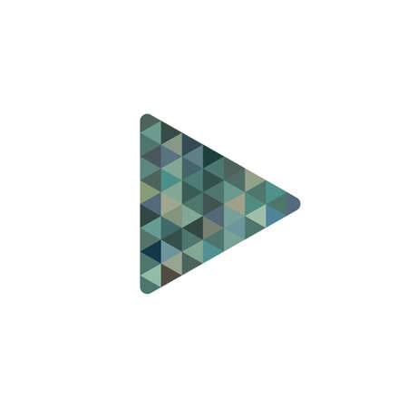abstract triangle Play button icon. Video media player symbol. Vector illustration on white background 向量圖像