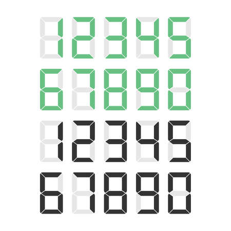Numbers set print numbers green and white, typography design element. Vector illustration 向量圖像