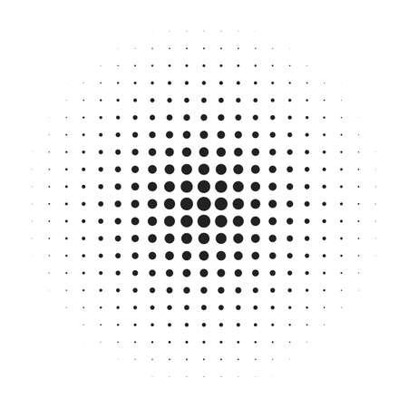 Halftone circle vector logo symbol, icon, design. abstract dotted globe illustration isolated on white background. Ilustracja