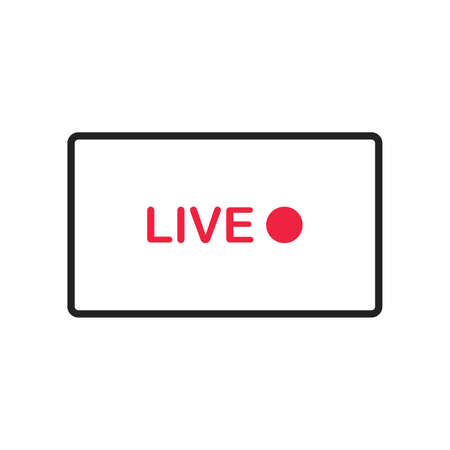 Watching live streaming on laptop illustration. Online webinar lesson. Vector on white background