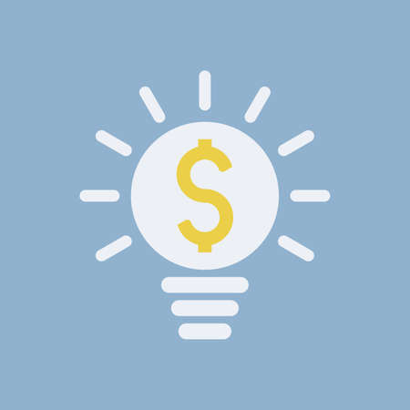 Shinning bright light bulb with dollar icon simple business icon. Vector illustration on blue background Ilustracja